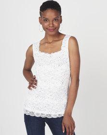 Queenspark Lace Diamante Knit Top White