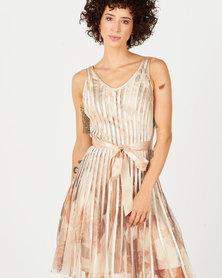 Queenspark Floral Printed Mesh Ribbon Knit Dress Gold