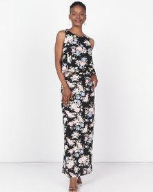 Revenge Floral Print Dress Black