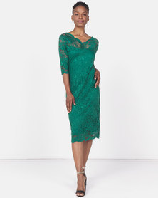 Revenge Lace Bodycon Dress Green
