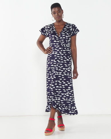 Revenge Flared Midi Dress Blue/White