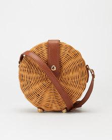 All Heartl Woven Circle Crossbody Bag Tan