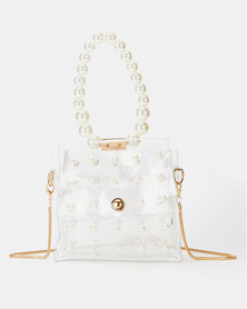 All Heart Floating Pearl Wristlet Bag Clear