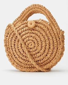 All Heart Woven Circle Crossbody Bag Tan