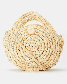 All Heart Woven Circle Crossbody Bag Neutral