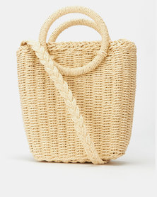 All Heart Woven Bucket Crossbody Bag Neutral