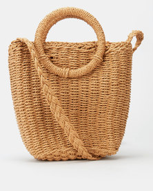 All Heart Woven Bucket Crossbody Bag Tan