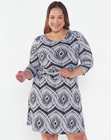 Revenge Plus 3/4 Sleeve Dress Multi Grey