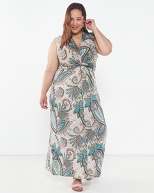 Revenge Plus Maxi Dress Teal