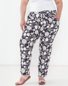 Revenge Plus Flower Print Trousers  Multi Navy