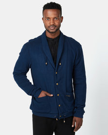 non-european® Shawl Collar Cardigan Navy Antique Brass