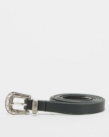 All Heart Western Skinny Belt Black
