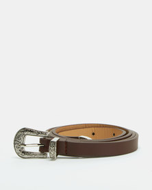 All Heart Western Skinny Belt Brown