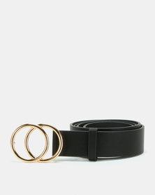 All Heart Double Circle Skinny Belt Black