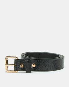 All Heart Snakeskin Skinny Belt Black