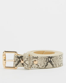 All Heart Snakeskin Skinny Belt Neutral
