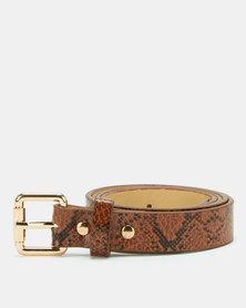 All Heart Snakeskin Skinny Belt Tan