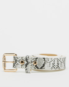 All Heart Snakeskin Skinny Belt White