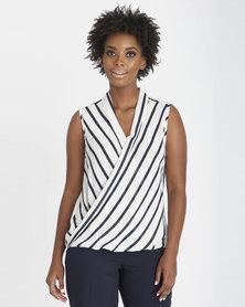 Contempo Sleeveless Stripe Wrap Top Navy