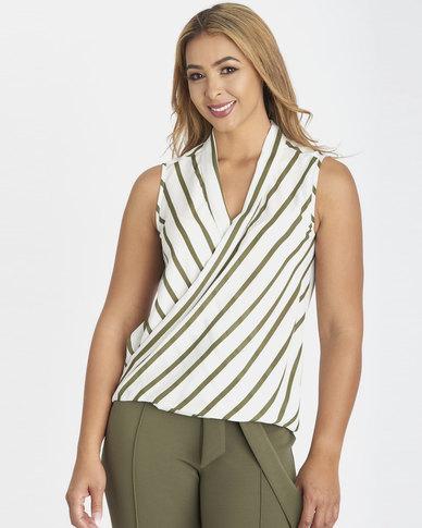 Contempo Sleeveless Stripe Wrap Top Khaki