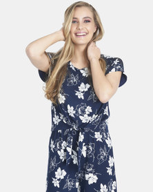Contempo Floral Cropped Jumpsuit Navy