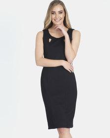 Contempo Cutout Dress With Trim Black