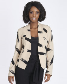 Contempo Printed Hook & Bar Jacket Stone