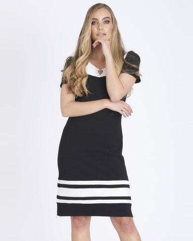 Contempo Colour Block Dress Black