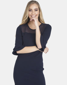 Contempo Frill Sleeve Dress With Mesh Navy