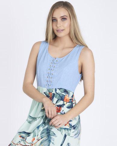 Contempo Denim Bodice Floral Dress Mint