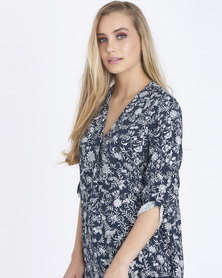 Contempo Printed Pleat Top Navy