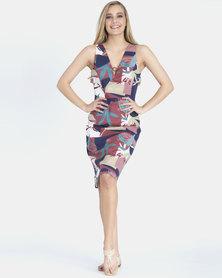 Contempo Printed Cotton Structured Dress Multi