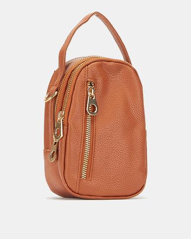 All Heart Zip Detail Crossbody Bag Tan