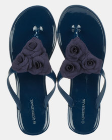 Queenspark Big Flower And Leaf Jelly Thongs Navy