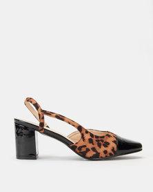 Queenspark Slingback Patent Block Animal Heels Black