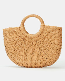 All Heart Woven Basket Handbag Tan