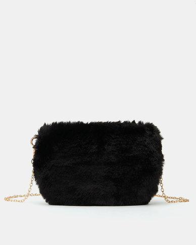 All Heart Faux Fur Crossbody Bag Black