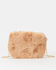 All Heart Faux Fur Crossbody Bag Nude