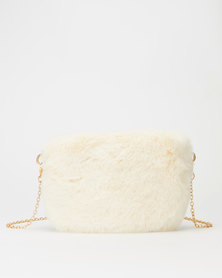 All Heart Faux Fur Crossbody Bag White