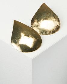 All Heart Solid Tear Drop Earrings Gold-tone