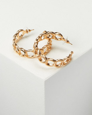 All Heart Chain Link Hoop Earrings Gold-tone