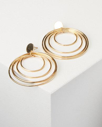 All Heart Layered Hoop Earrings Gold-tone