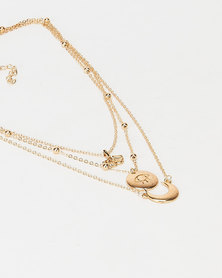 All Heart Layered Pendant Necklace Gold-tone