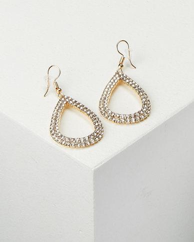 All Heart Jewelled Drop Earrings Gold-tone