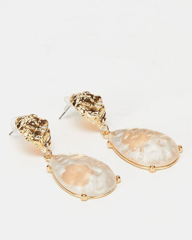 All Heart Chunky Jewelled Drop Earrings Gold-tone