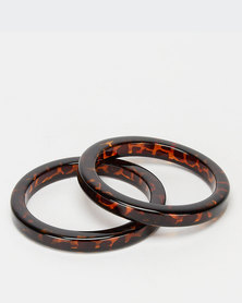 All Heart 2 Pack Resin Bangle Tortoise