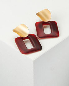 All Heart Resin Square Drop Earrings Red