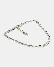 All Heart Chain Linked Necklace Silver-tone
