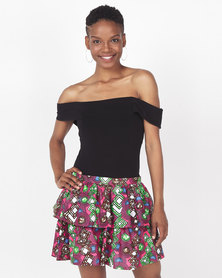 Black Buttons Stella Layered Skirt  Pink Multi