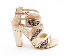 LaMara Paris Estelle leopard print sandals champagne
